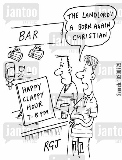 happy clappy cartoon humor: The landlord's a born again Christian