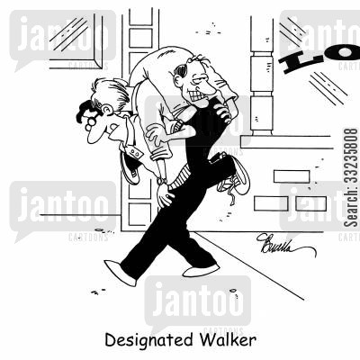 car share cartoon humor: Designated Walker