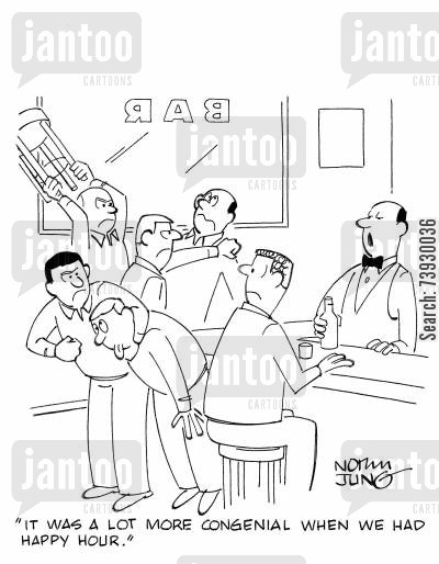 bar fights cartoon humor: 'It was a lot more congenial when we had happy hour.'