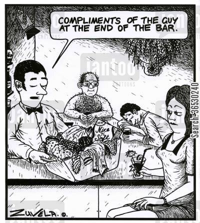 heavy drinking cartoon humor: 'Compliments of the guy at the end of the bar.'