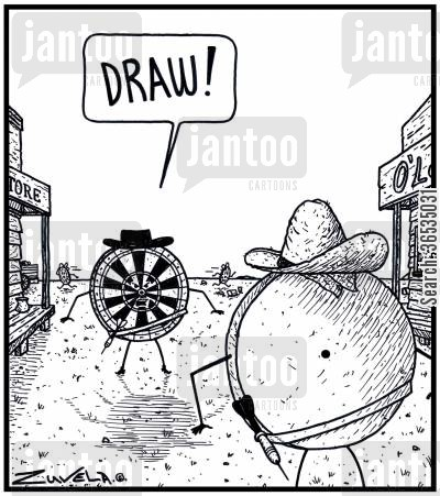 dart board cartoon humor: Cowboy Darts board: 'DRAW!'