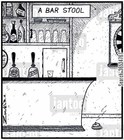 excrement cartoon humor: A Bar Stool