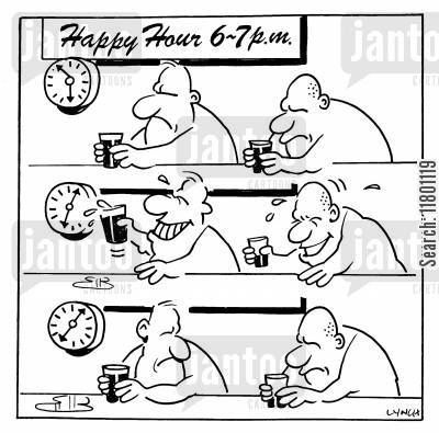 misery cartoon humor: Happy Hour