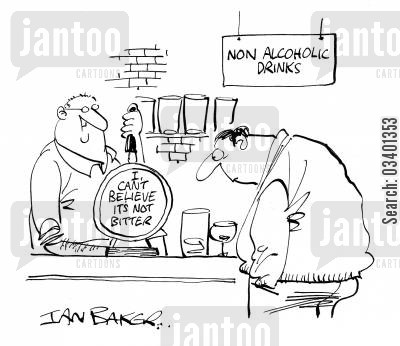 non-alcoholic beers cartoon humor: Non-alcoholic drinks.