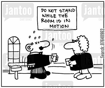 drink driving cartoon humor: 'Do not stand while the room is in motion.'