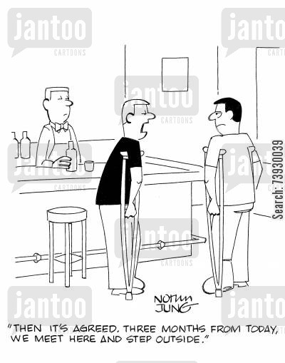 bar fights cartoon humor: 'Then it's agreed, three months from today, we meet here and step outside.'