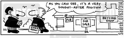 public house cartoon humor: Between pub and bookie: 'Very sought-after position.'