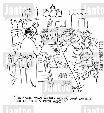 bar room brawls cartoon humor: 'Hey you two, 'happy hour' was over fifteen minutes ago!'