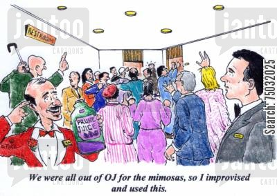 orange juice cartoon humor: 'We were all out of OJ for the mimosas, so I improvised and use this.'