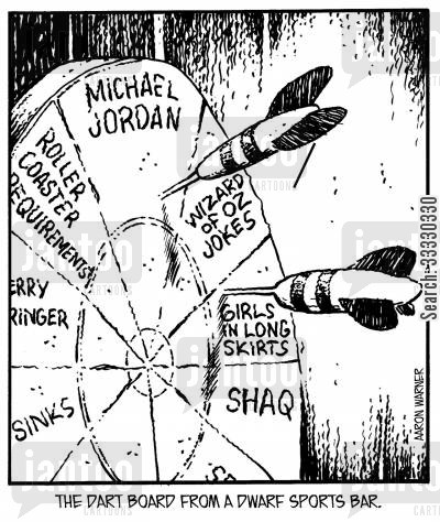 michael jordan cartoon humor: The dart board from a dwarf sports bar.