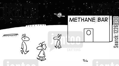 oxygen bar cartoon humor: METHANE BAR