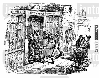 georgian england cartoon humor: 'Morning Herald' News Story Images- Jonas Junks Thrown out of Pub in St Giles, London