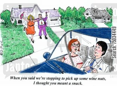 car share cartoon humor: 'When you said we're stopping to pick up some wine nuts, I thought you meant a snack.'