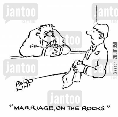 rocky cartoon humor: 'Marriage, on the rocks.'