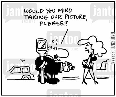 parking meters cartoon humor: 'Would you mind taking our picture please?'