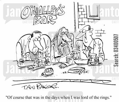 pub bores cartoon humor: Of course that was in the days when I was Lord of the Rings...