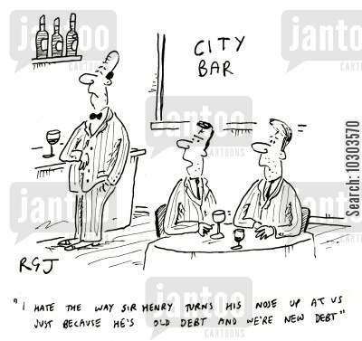 industrialist cartoon humor: 'I hate the way Sir Henry turns his nose up at as just because he's old debt ad we're new debt.'