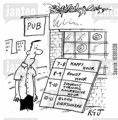 nightlife cartoon humor: Pub Hours