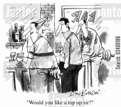 bar maids cartoon humor: Men with spinning tops - Would you like a top up sir?