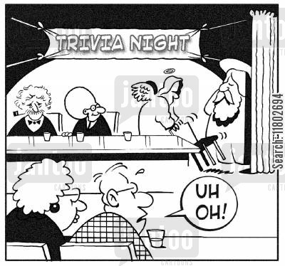 pub quizzes cartoon humor: Trivia night - the arrival of God causes worry amongst the other competitiors.