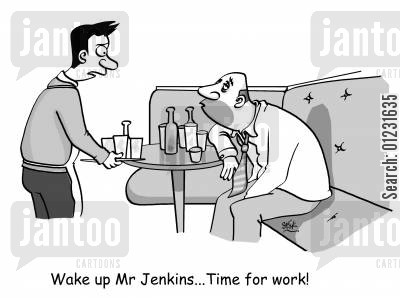 late license cartoon humor: Wake up Mr Jenkins...Time for work!