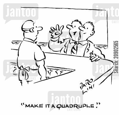 siamese twins cartoon humor: 'Make it a quadruple.'