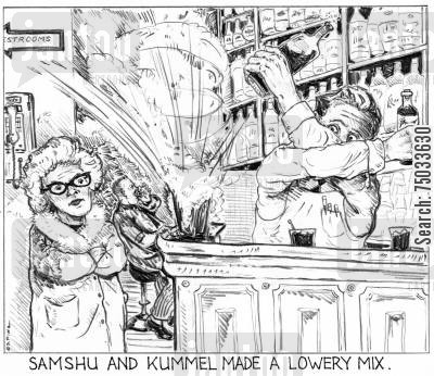 chemists cartoon humor: 'Samshu and kummel made a lowery mix.'