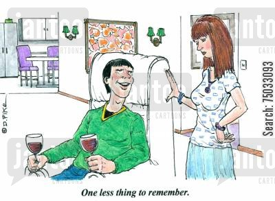 amnesiac cartoon humor: 'One less thing to remember.'