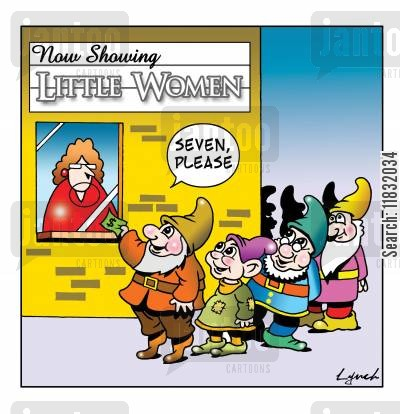 seven dwarfs cartoon humor: Little Women.
