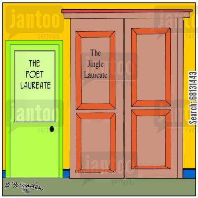 jingle writer cartoon humor: The Poet and Jingle Laureates' Office.