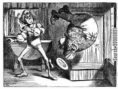 fantasy cartoon humor: Alice in Wonderland - Farmer William Somersaults
