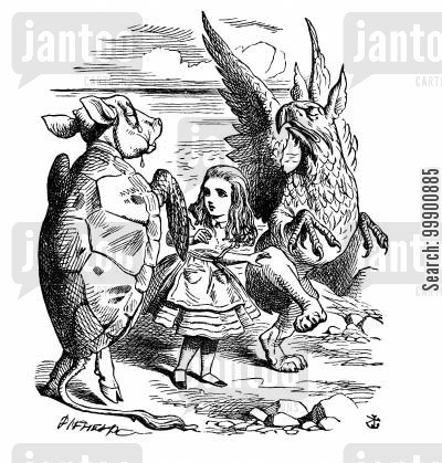 alice cartoon humor: Alice in Wonderland - Alice with Gryphon and Mock Turtle