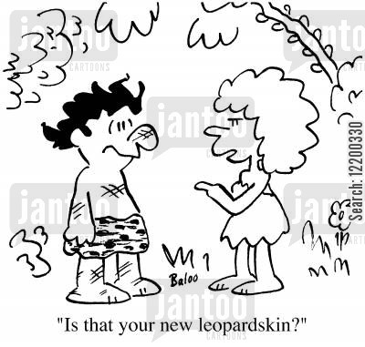 leopard skin cartoon humor: 'Is that your new leopard skin'