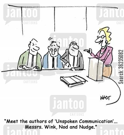 facial expressions cartoon humor: Messrs Wink, Nod and Nudge write book on unspoken communication.