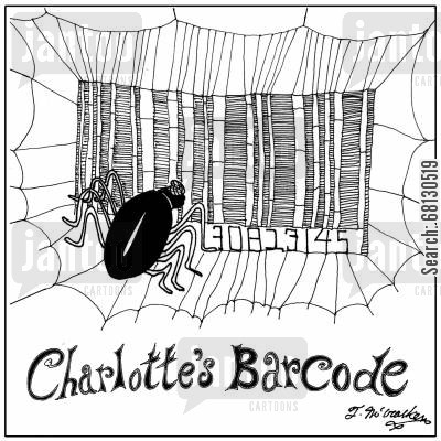 classic novels cartoon humor: Charlotte's Barcode.