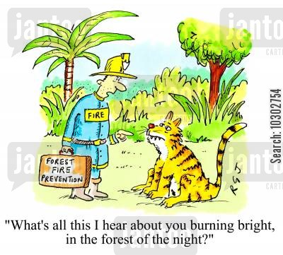 poetic cartoon humor: 'What's all this I hear about you burning bright in the forest of the night?'