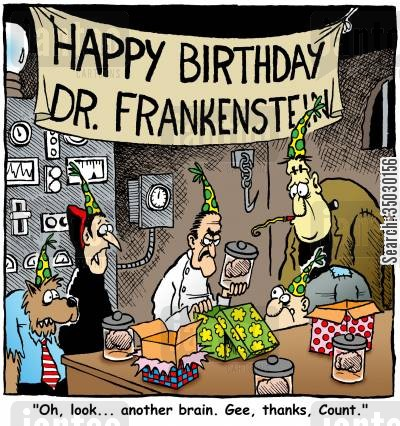 horror movies cartoon humor: 'Oh, look... another brain. Gee, Thanks, Count.'