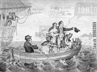 romanticism cartoon humor: 'Fare Thee Well'- Lord Byron Leaving England