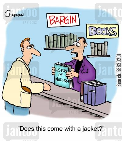 nudism cartoon humor: 'Does this come with a jacket?'