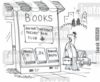 book club cartoon humor: Join our 'Conspiracy Theory' Book Club.