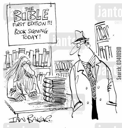 ruse cartoon humor: The Bible First Edition - Book Signing Today!