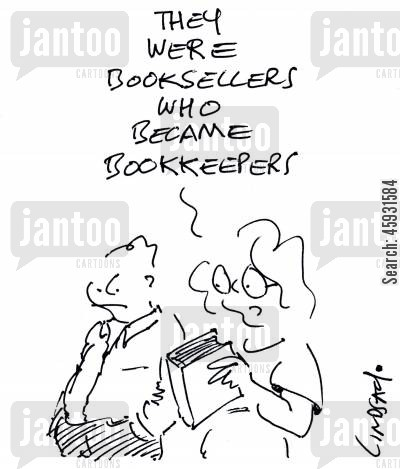 bookseller cartoon humor: They were booksellers who became bookkeepers