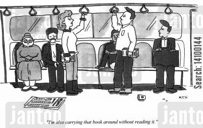 bookshop cartoon humor: I'm also carrying that book around without reading it.