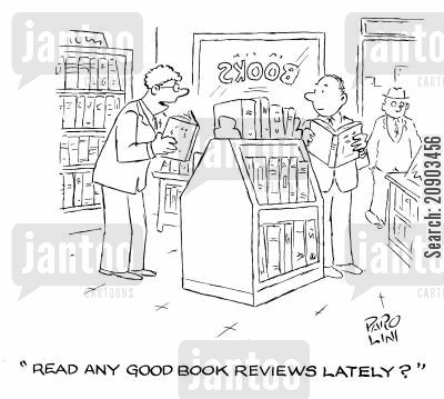 book reviews cartoon humor: 'Read any good book reviews lately?'