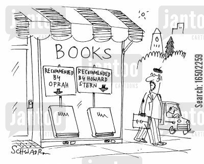 radio presenters cartoon humor: Books recommended by Oprah and Howard Stern.