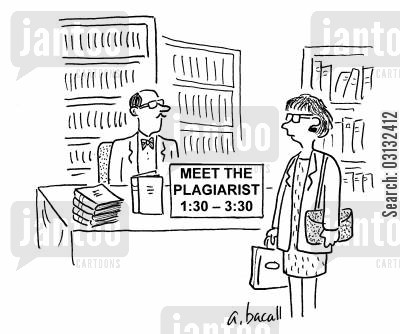 plagiarists cartoon humor: Author signing: Meet the plagiarist.