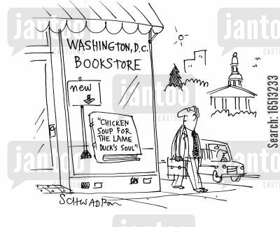 bookseller cartoon humor: 'Chicken Soup for the lame Duck's Soul'