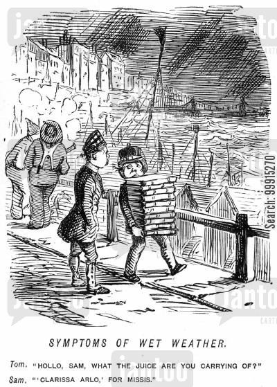 rain cartoon humor: Boy carrying Samuel Richardson's 'Clarissa' for his mistress