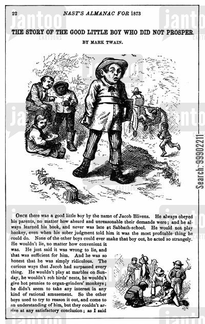 writer cartoon humor: The Good Little Boy Who Did not Prosper - an Illustration to M Twain's Story