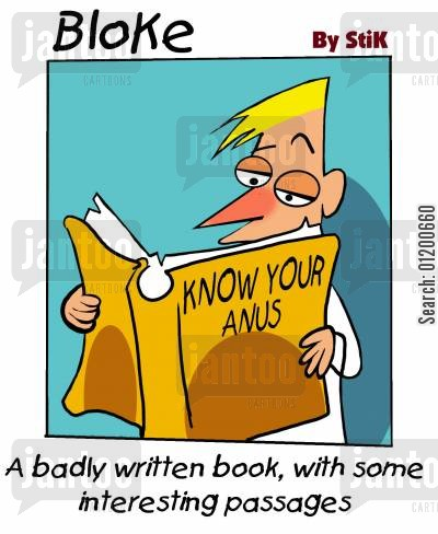 private parts cartoon humor: Bloke - Know Your Anus.